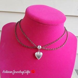 Layered Tiny Heart Locket Choker Necklace